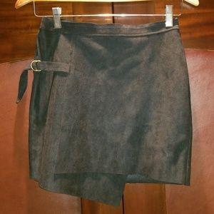 joa Suede Asymmetrical Skirt